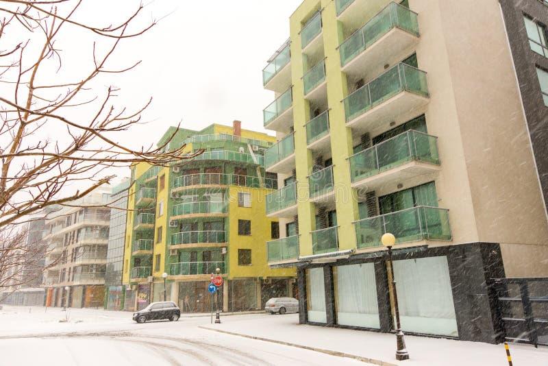 Pomorie buildings in winter snowfall, Bulgaria stock photos