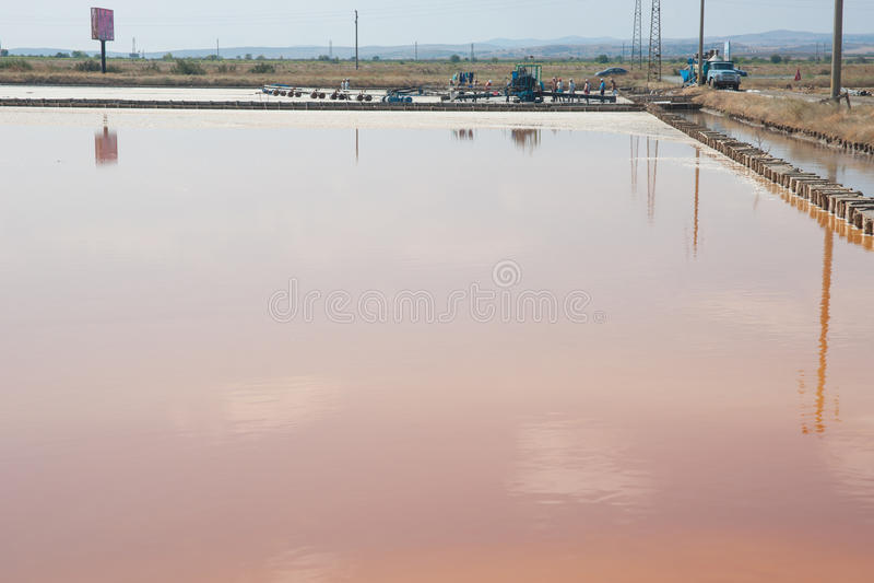 Pomorie salt extraction in Bulgaria stock photography