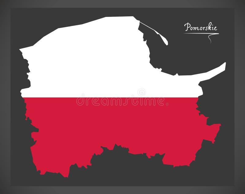 Pomorskie map of Poland with Polish national flag illustration. Pomorskie map of Poland with Polish national flag royalty free illustration