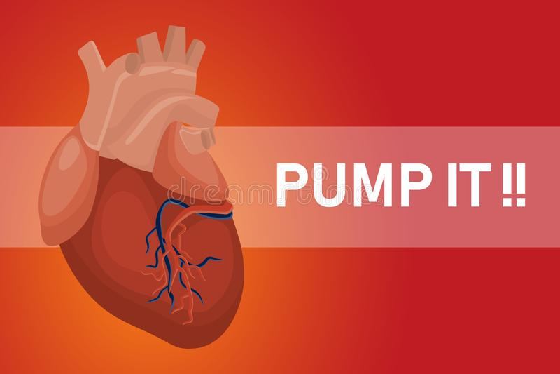 Pomp het hartaffiche voor gezonde harten met rode achtergrond en teksten vector illustratie