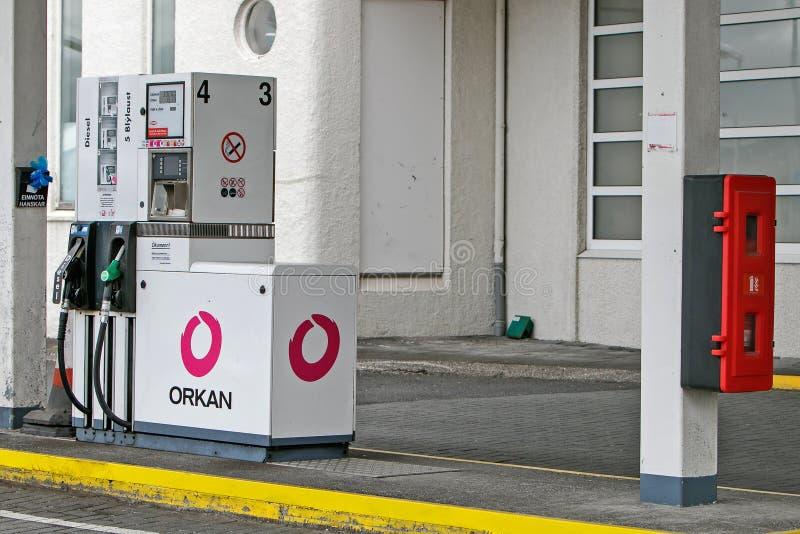 Pompa ad una stazione di servizio di Orkan immagine stock libera da diritti