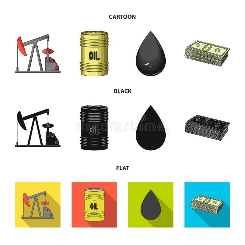 Pompa, baryłka, kropla, petrodollars Oliwi ustalone inkasowe ikony w kreskówce, czerń, mieszkanie symbolu zapasu stylowa wektorow ilustracja wektor