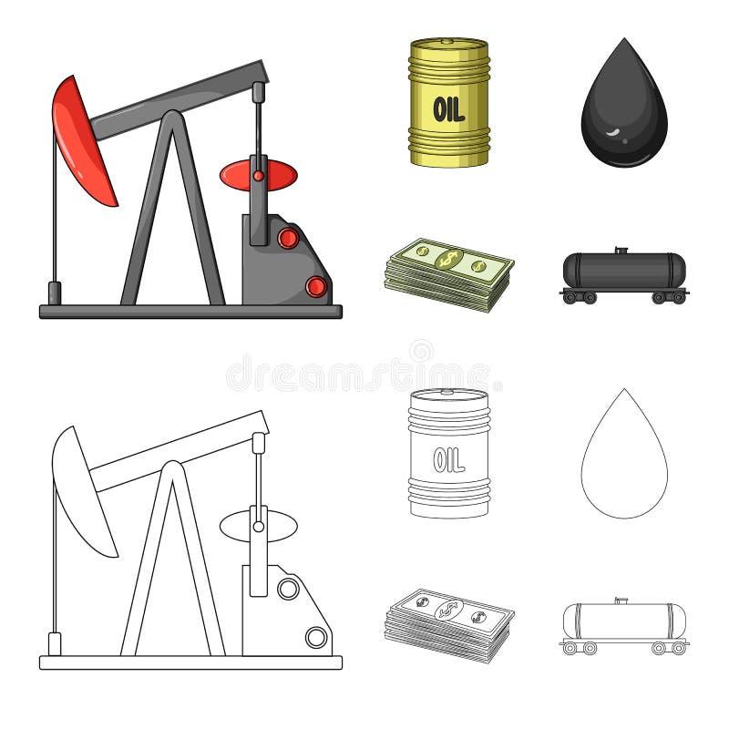Pompa, baryłka, kropla, petrodollars Oliwi ustalone inkasowe ikony w kreskówce, konturu symbolu zapasu ilustraci stylowa wektorow ilustracji