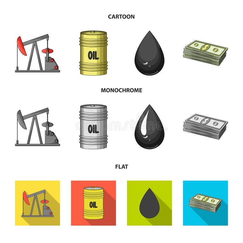 Pompa, baryłka, kropla, petrodollars Oliwi ustalone inkasowe ikony w kreskówce, mieszkanie, monochromu symbolu stylowy wektorowy  ilustracja wektor