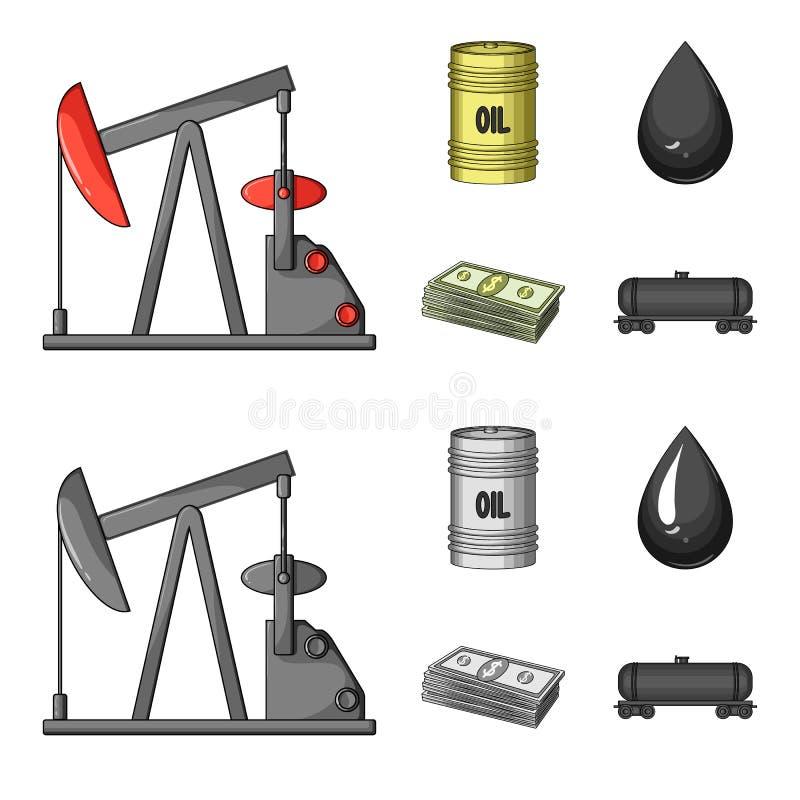 Pompa, baryłka, kropla, petrodollars Oliwi ustalone inkasowe ikony w kreskówce, monochromu symbolu zapasu stylowa wektorowa ilust ilustracja wektor