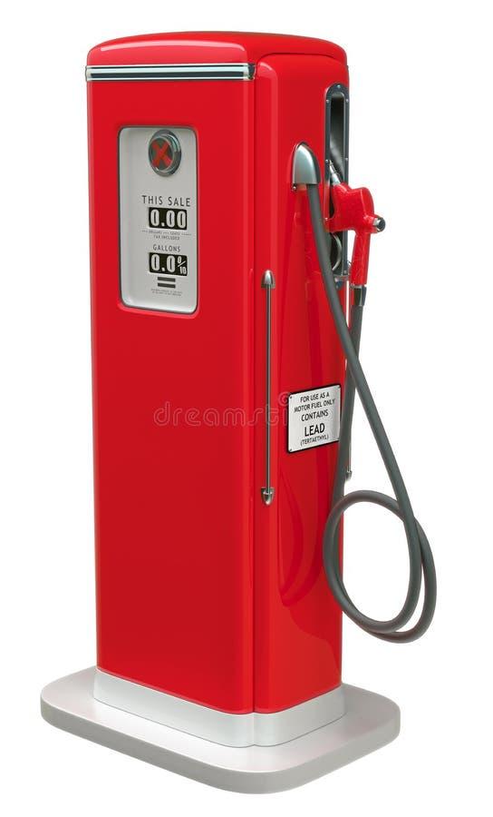Pompa della benzina rossa dell'annata isolata sopra bianco illustrazione di stock