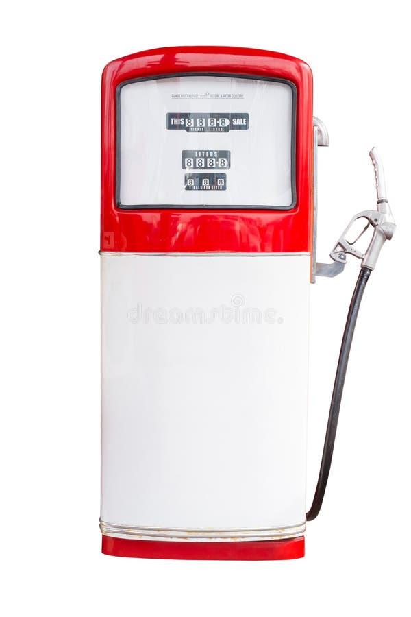 Pompa di benzina d'annata isolata su bianco con il percorso di ritaglio immagini stock libere da diritti