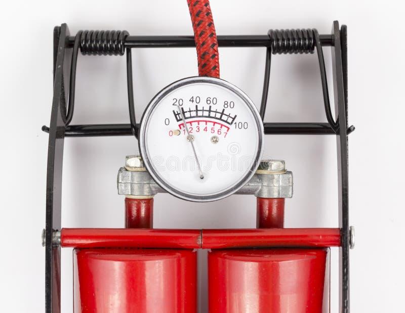 Pompa a pedale del calibro di pressione d'aria immagini stock libere da diritti