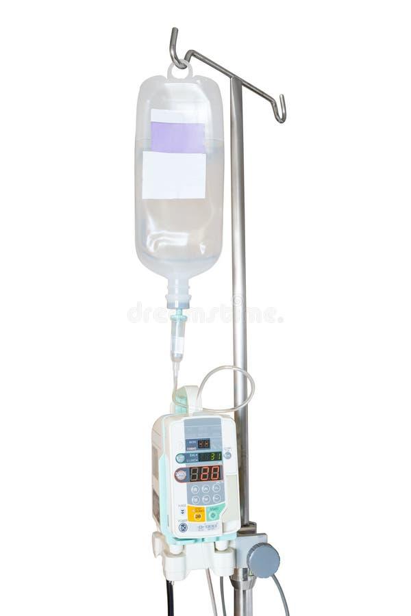 Pompa per infusione isolata ed IV appendendo sul palo immagini stock libere da diritti