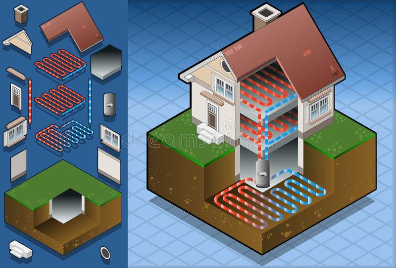 Pompa termica geotermica/schema underfloorheating illustrazione vettoriale