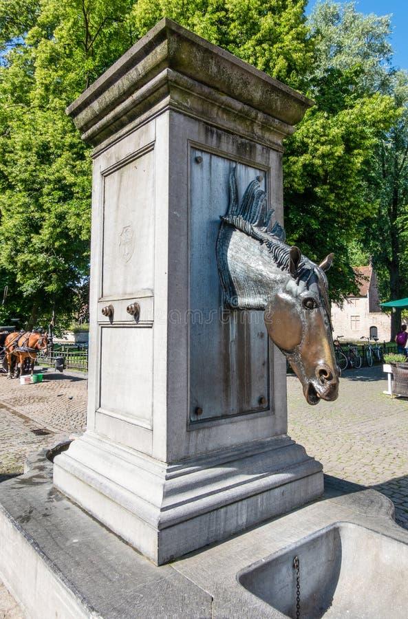Pompa wodna dla koni frachty w Bruges, Flandryjskich, Belgia zdjęcie royalty free