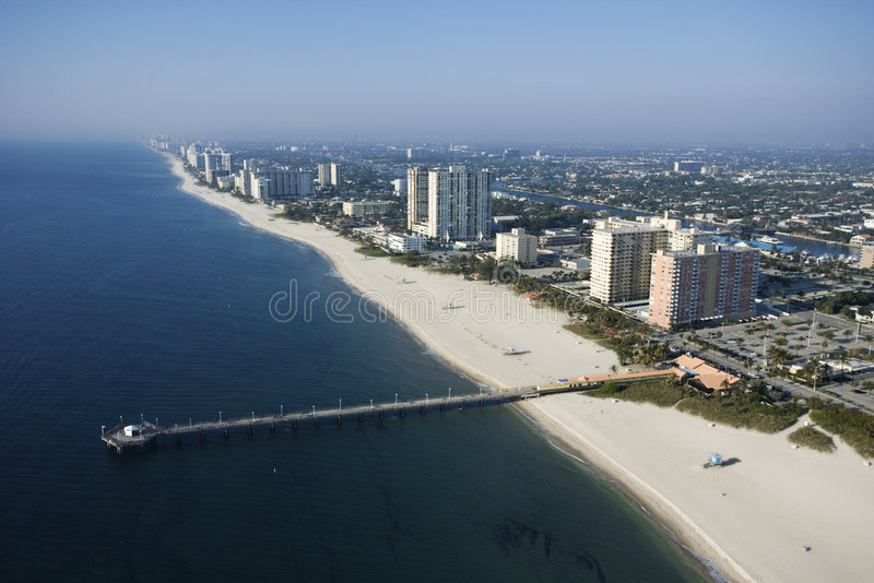 Pompano Beach, Flordia. Aerial view of waterfront buildings and pier over ocean at Pompano Beach, Flordia stock images