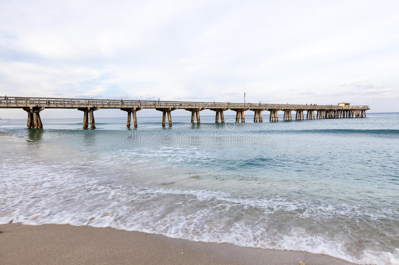 Pompano Beach pier, Florida. Pompano Beach fishing pier on the Atlantic Ocean coast in Florida, United States royalty free stock image