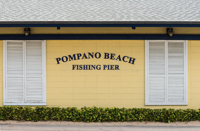 Pompano Beach Sign. On a building royalty free stock image