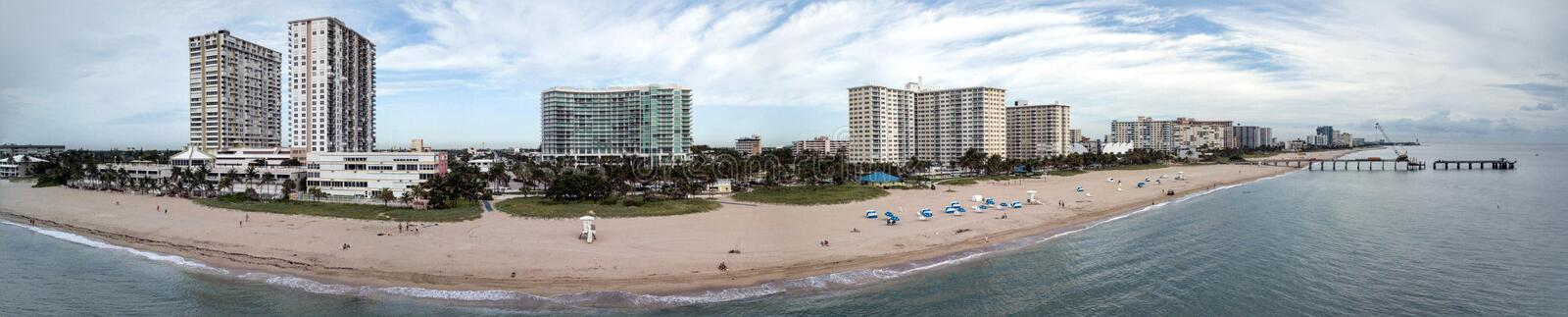 Pompano Strand Florida Pier Panorama Construction royalty-vrije stock fotografie