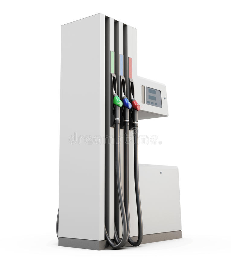 Pompe à essence sous le fond blanc illustration stock