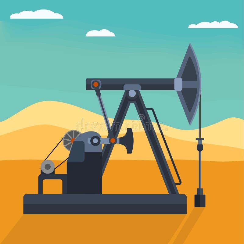 Pompe à huile détaillée plate de vecteur sur le désert Backround illustration libre de droits