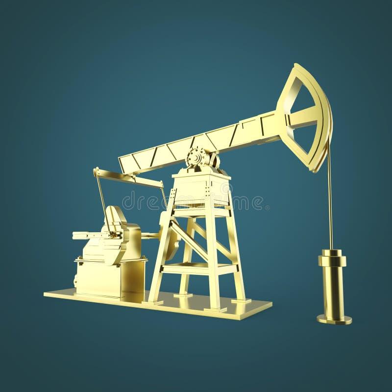 Pompe-cric haut détaillé d'huile d'or, installation rendu d'isolement industrie de carburant, illustration de crise d'économie illustration de vecteur