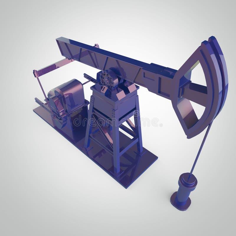 Pompe-cric métallique haut détaillé, plate-forme pétrolière rendu d'isolement industrie de carburant, illustration de crise d'éco illustration stock