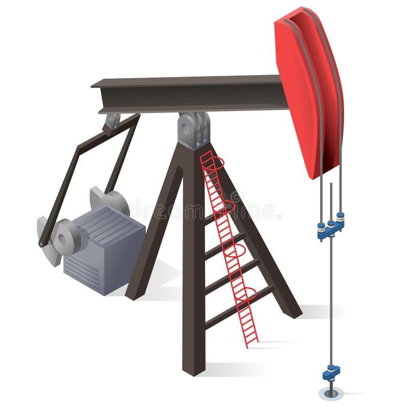 Pompe d'extraction de l'huile Production d'industrie de puits de pétrole, équipement de gisement de pétrole illustration stock