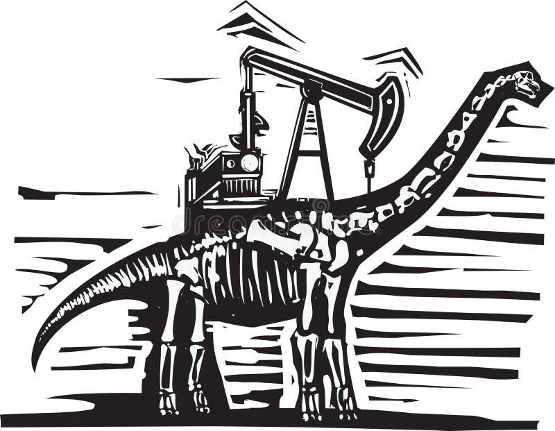Pompe de puits de pétrole de brontosaure illustration stock