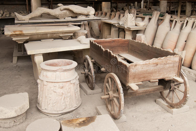 Pompei. Italy, Pompei. Archaeological finds in the ancient city stock photo