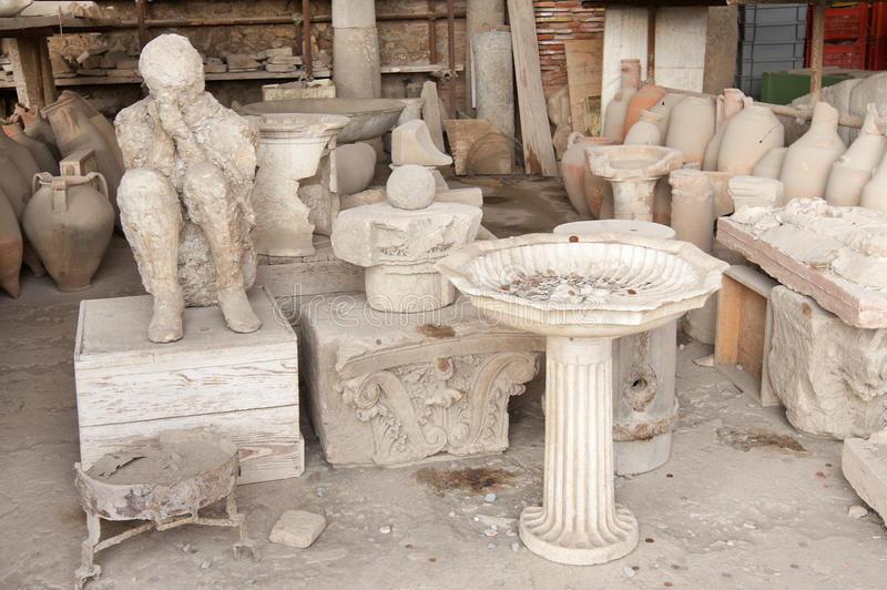 Pompei. Italy, Pompei. Archaeological finds in the ancient city stock photos