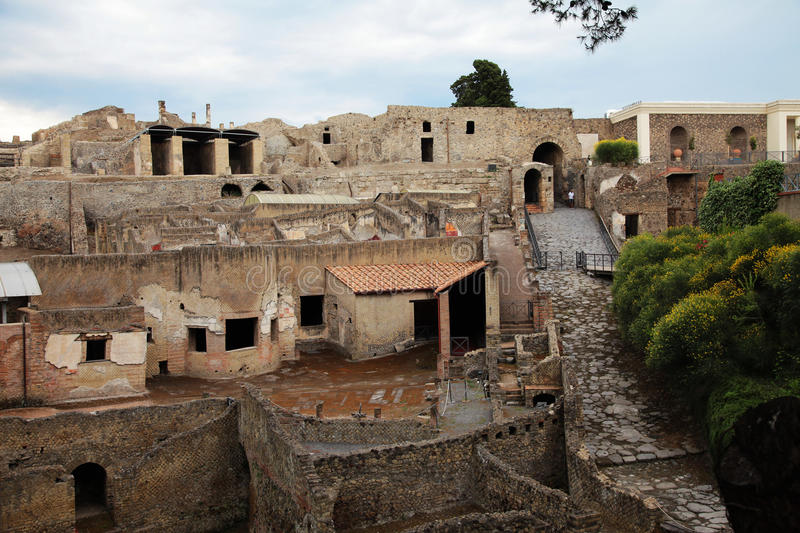 Pompei. The ancient town destroyed by the vesuvio volcano stock image
