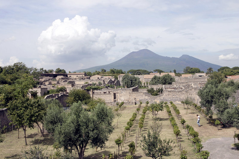 Pompei. I is a ruined Roman city near modern Naples in the Italian region of Campania, in the territory of the comune of stock images