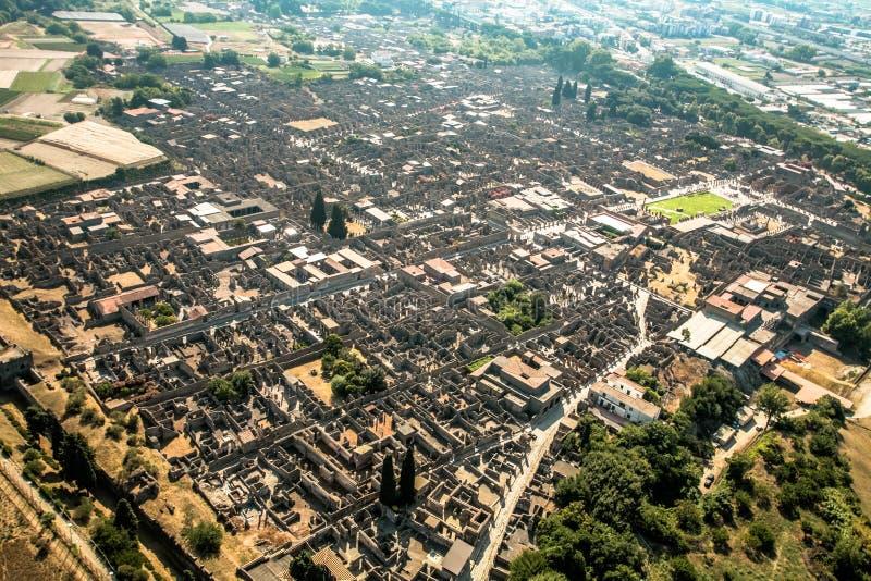 Pompei. Air view Ruins of an ancient Roman city Pompei royalty free stock photo