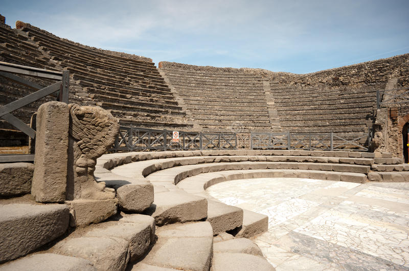 Pompei - Ancient Rome. In Pompei, we get an insight into Ancient Rome 2000 years ago. Theatre Teatro stock images