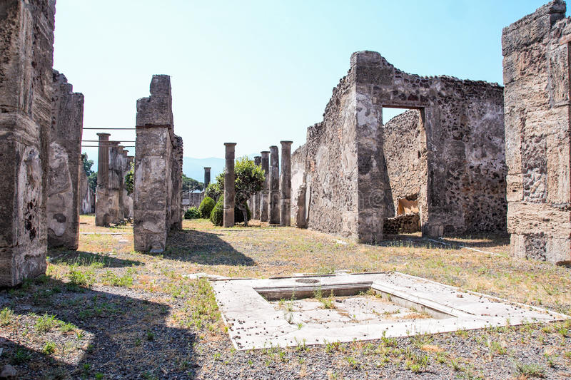 Pompei archeological site. AT POMPEI - ON 06/22/ 2017 - Ruins of ancient roman town of Pompeii, destroyed by vesuvius eruption in 70 d.c stock photos