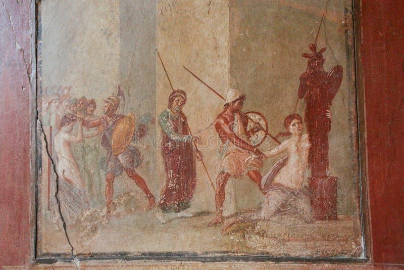 pompei fresko Italië Napels stock foto