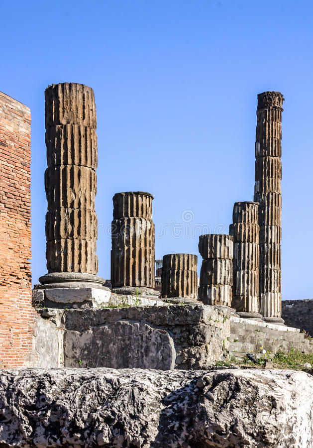Pompei, Napels, Italië Oude Roman stadsruïnes stock foto's