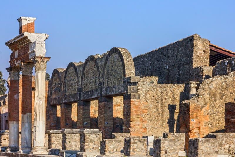 Pompei in Napels, Italië Oude Roman stadsruïnes stock foto's
