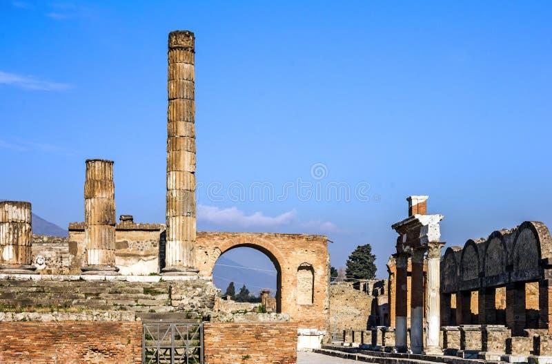 Pompei, Napoli, Italië Oude Roman de stadsruïnes van Pompei royalty-vrije stock foto