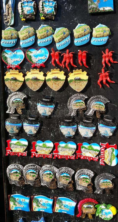 Pompei, Napoli, Italy. Collection of magnets to sell to tourists stock photos