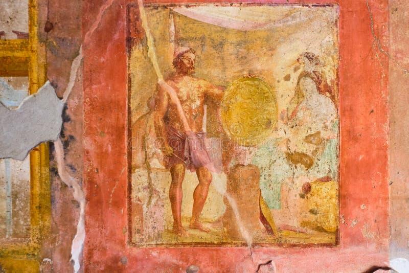 Pompei, Oude fresko in een huis royalty-vrije stock afbeelding
