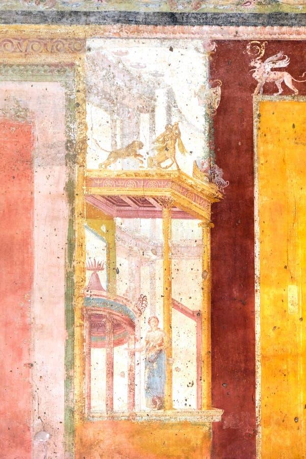 Pompei, Oude fresko in een huis royalty-vrije stock afbeeldingen