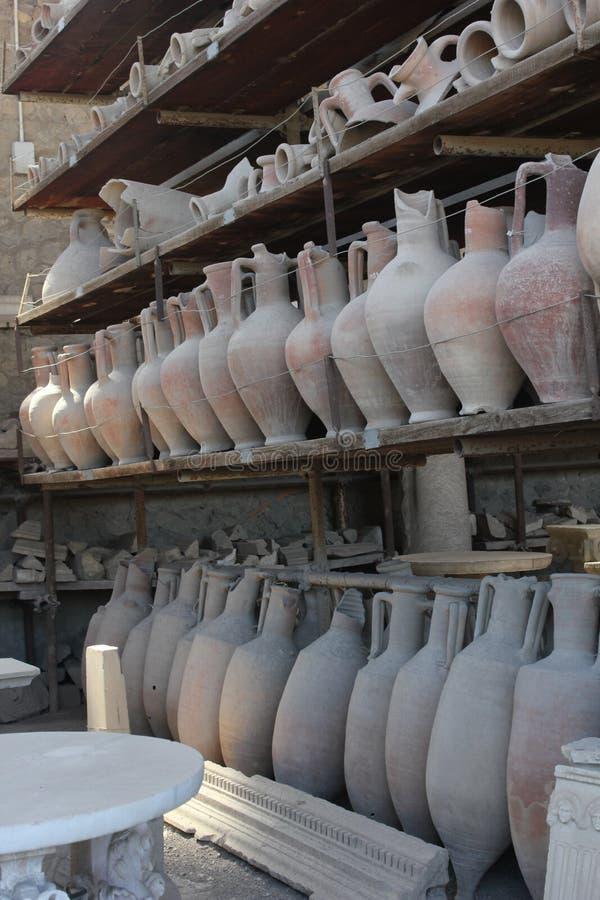 Pompei roman amphoras stock photo
