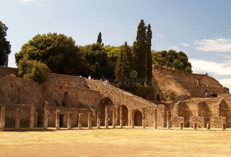 Pompei, ruïnes van de vulkaan stock foto's