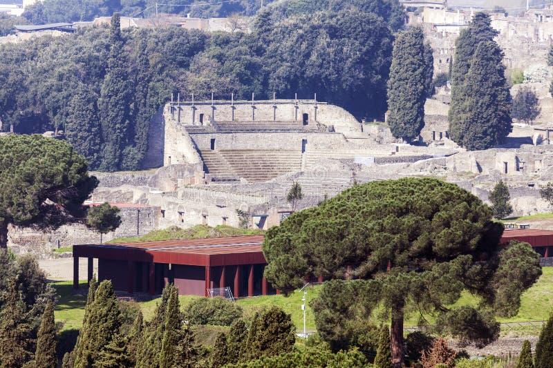 Pompei ruins. Aerial view. Pompei, Campania, Italy royalty free stock images