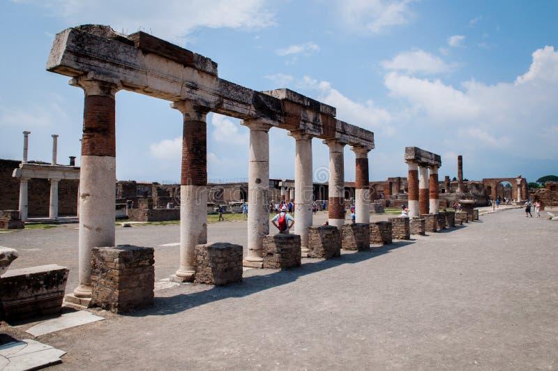 Pompei ruins. Center with arches stock photos
