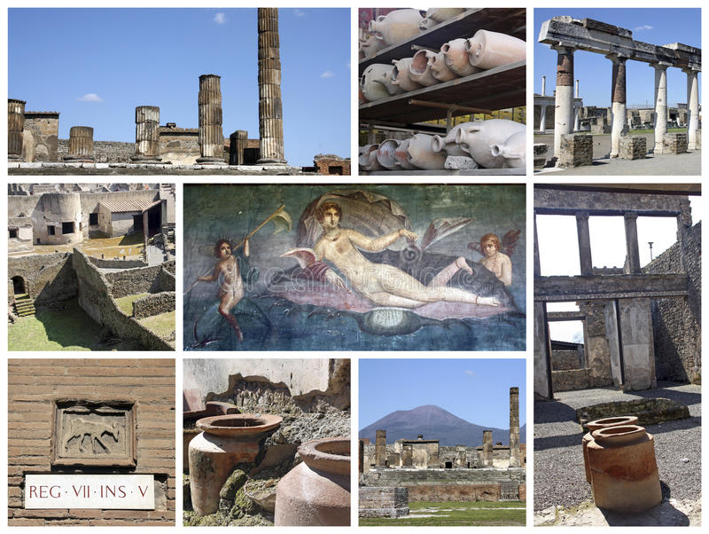 Pompei ruins in Italy. A collage of photos about Pompei ruins, near Naples in Italy stock images