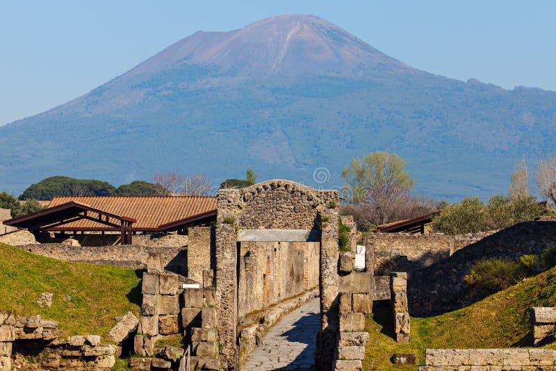 Pompei ruins. And Mt Vesuvius. Pompei, Campania, Italy royalty free stock image