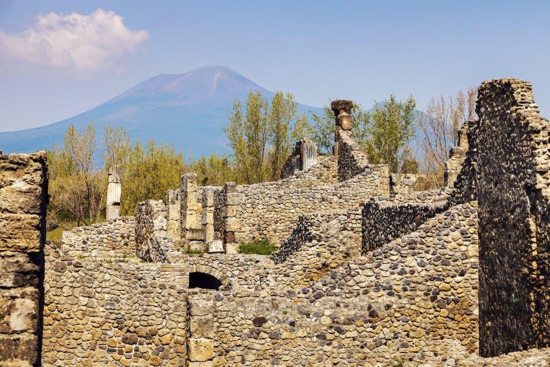 Pompei ruins. And Vesuvio. Pompei, Campania, Italy stock photography