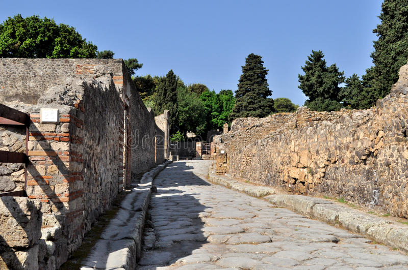 Pompeii Italy. Pompeii ruins from the volcano eruption (Naples, Italy) stock photography