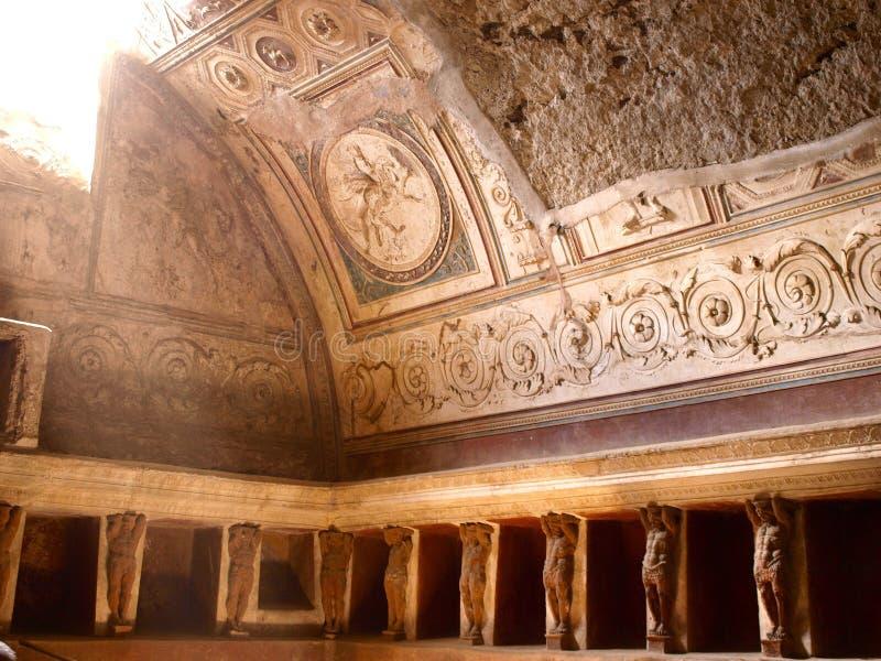 Pompei Spa. Pompei , Italy. Roman Spa Bath Room stock photo