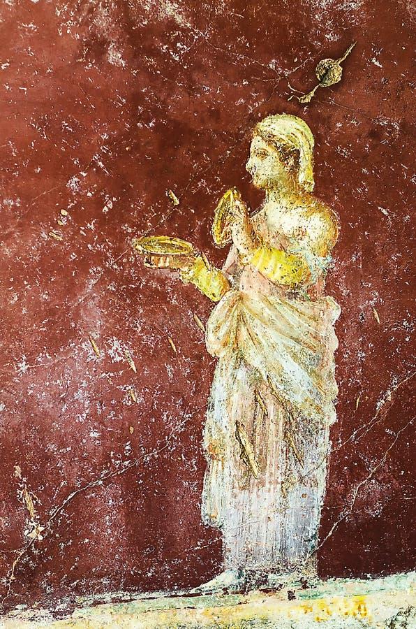 Pompeian freskomålning royaltyfri bild