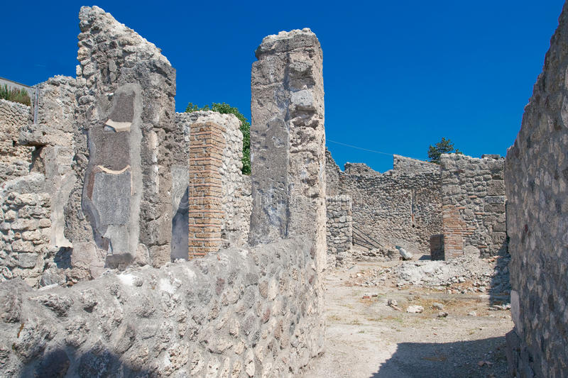 Pompeii. Italian ruins, Pompeii, landscape and blue sky royalty free stock images